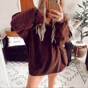 Chunky striped oversized velour sweatshirt